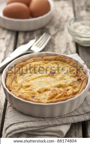 Quiche Lorraine - ready for eating - stock photo