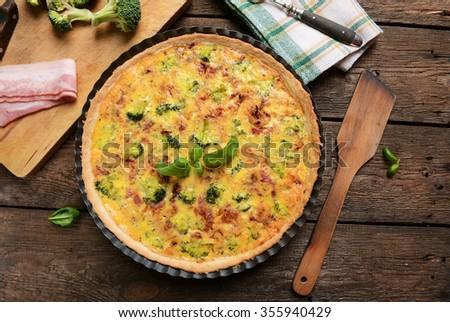 quiche with broccoli and ham - stock photo