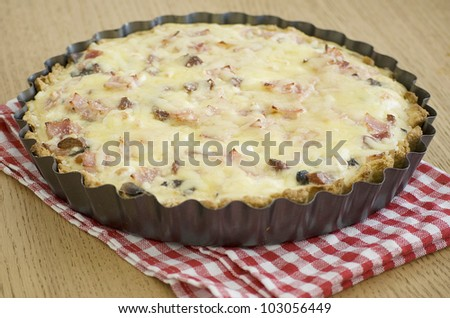 quiche with ham cheese salami muchrooms beans eggs in a tray - stock photo