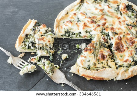 quiche with spinach and feta cheese - stock photo
