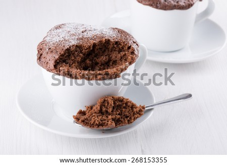 Quick chocolate cake in a mug - stock photo