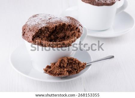 Quick chocolate cake in a mug - stock photo