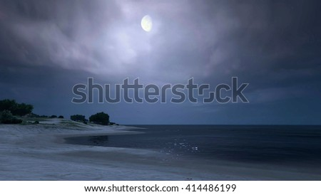 Quiet bay and fuzzy moon 3D illustration