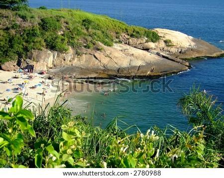 Quiet beach in Niterói, Rio de Janeiro, Brazil - stock photo
