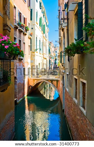 Quiet beautiful canal and a small bridge, Venice, Italy - stock photo