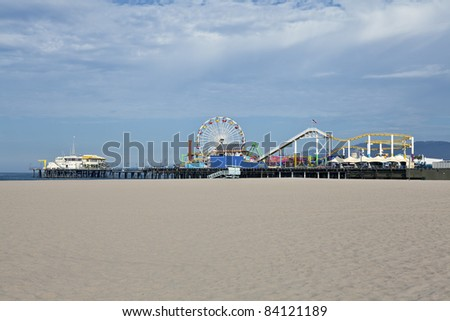 Quiet early morning at the famous Santa Monica Beach and Pier. - stock photo