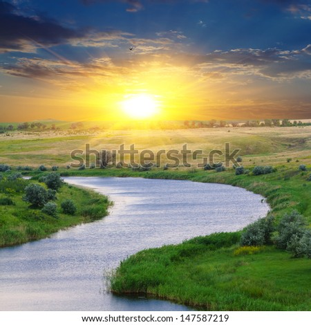 quiet evening on a river - stock photo