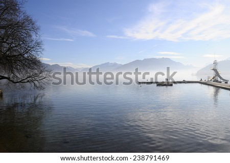 quiet landscape of Annecy lake in Savoy, France - stock photo