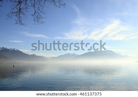 quiet landscape of Annecy lake in Savoy, France