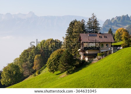 Quiet life on the slopes of the Alps - stock photo