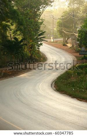 Quiet Local road, Thailand - stock photo