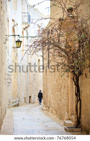 Quiet medieval stone paved street in Mdina the former capital of Malta - stock photo