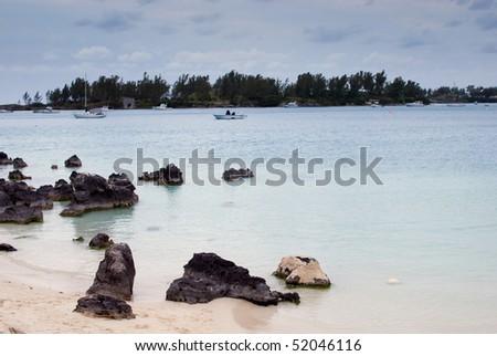quiet morning on the beach - stock photo