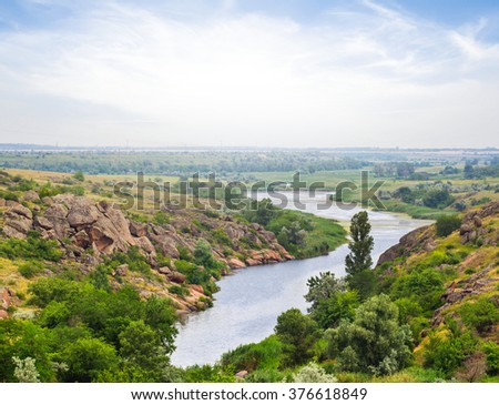 quiet river in a mountain canyon - stock photo