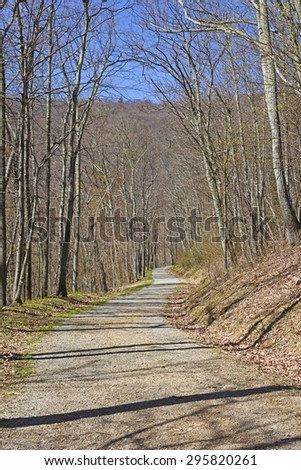 Quiet Rural Road in Shenandoah National Park in Virginia - stock photo