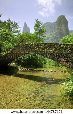Quiet streams and mountains - stock photo