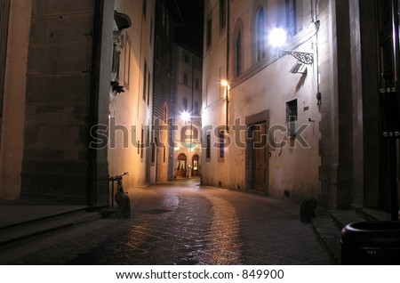 Quiet street Florence, Italy - stock photo