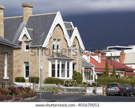Quiet streets in Hobart town (Tasmania, Australia). - stock photo