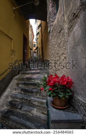 Quiet streets of Vernazza, one of five cinque terre towns, taken during winter. - stock photo