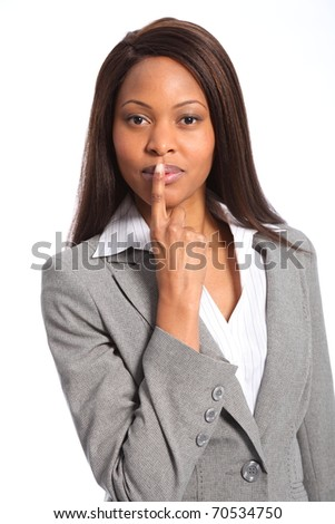 Quiet symbol from beautiful business woman - stock photo