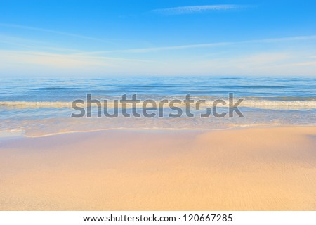 Quiet time. Sandy beach seashore in the morning - stock photo