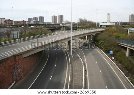 quiet urban motorway with only one car