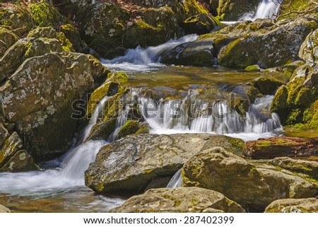 Quiet Water on the Rose River in Shenandoah National Park in Virginia - stock photo