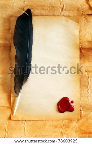 Quill on blank paper with wax seal