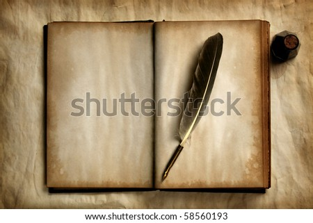 Quill on old blank book - stock photo