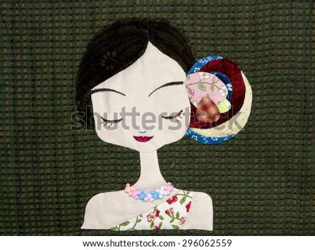 Quilt : Asian girl - stock photo