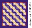 QUILT, Log Cabin Pattern, Straight Furrow Design Variation. Traditional pattern in purples and red with purple satin border. - stock photo