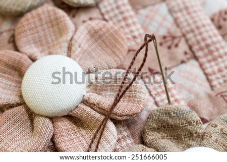 Quilt : Needle with thread - stock photo