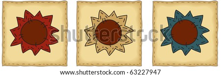 quilt squares with sunflower appliques - stock photo