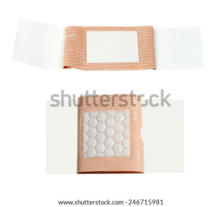 Quilted and quilt-vent bandages on a white background - stock photo