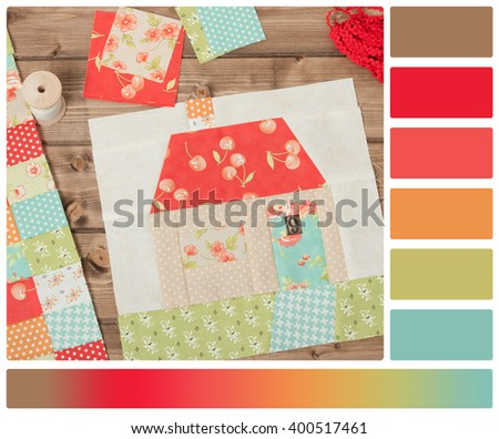 Quilted House. Sewing And Quilting Accessories. Palette With Complimentary Colour Swatches - stock photo