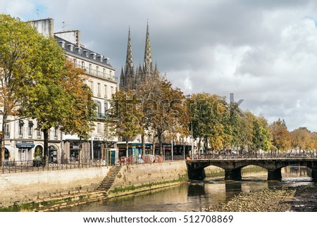 QUIMPER, FRANCE - OCTOBER 16, 2016: Cathedral of Saint Corentin of Quimper, Brittany, France. It is a Roman Catholic cathedral and national monument of Brittany in France.