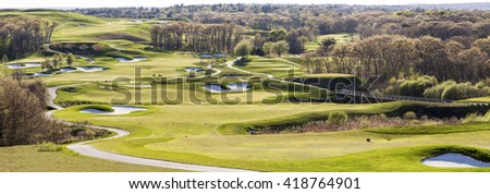 QUINCY, MA - MAY 9: Well-groomed golf course ready for the golf season grand opening in Quincy, MA, USA on May 9, 2016.