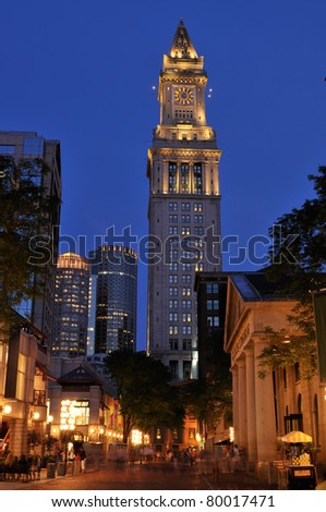 Quincy Market and Custom House Tower at night. Boston, Massachusetts - stock photo