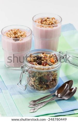Quinoa granola with berryes smooth drinks - stock photo