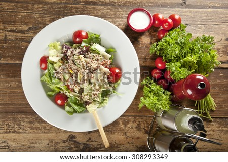 Quinoa salad, vegetarian and diet food - stock photo