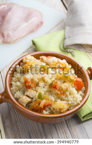 Quinoa salad with vegetables.Superfoods concept - stock photo