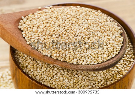 Quinoa seed closeup  in a wooden spoon. Selective focus