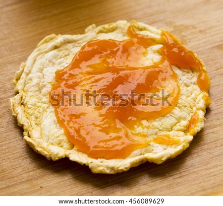 Quinoa toast with apricot jam, horizontal image - stock photo