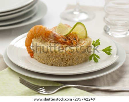 Quinoa with prawns