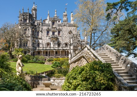 Quinta da Regaleira in Sintra, Portugal. In the palace and the park are hidden symbols related to alchemy, Masonry, the Knights Templar, and the Rosicrucians - stock photo