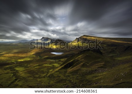 Quiraing view, Scottish Highlands, United Kingdom, in a cloudy morning - stock photo
