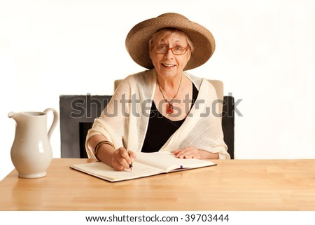 Quirky lady making an appointment - stock photo