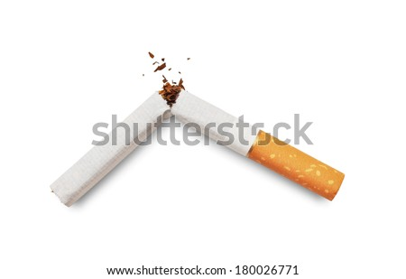 Quit smoking. Broken cigarette isolated on white background - stock photo