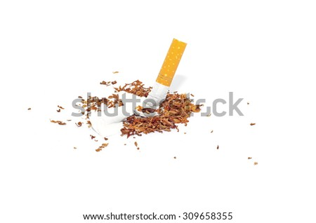 Quit smoking concept, cigarette butt with ash isolated on white background - stock photo