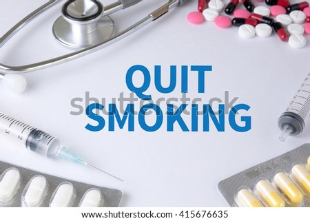QUIT SMOKING Text, On Background of Medicaments Composition, Stethoscope, mix therapy drugs doctor flu antibiotic pharmacy medicine medical - stock photo